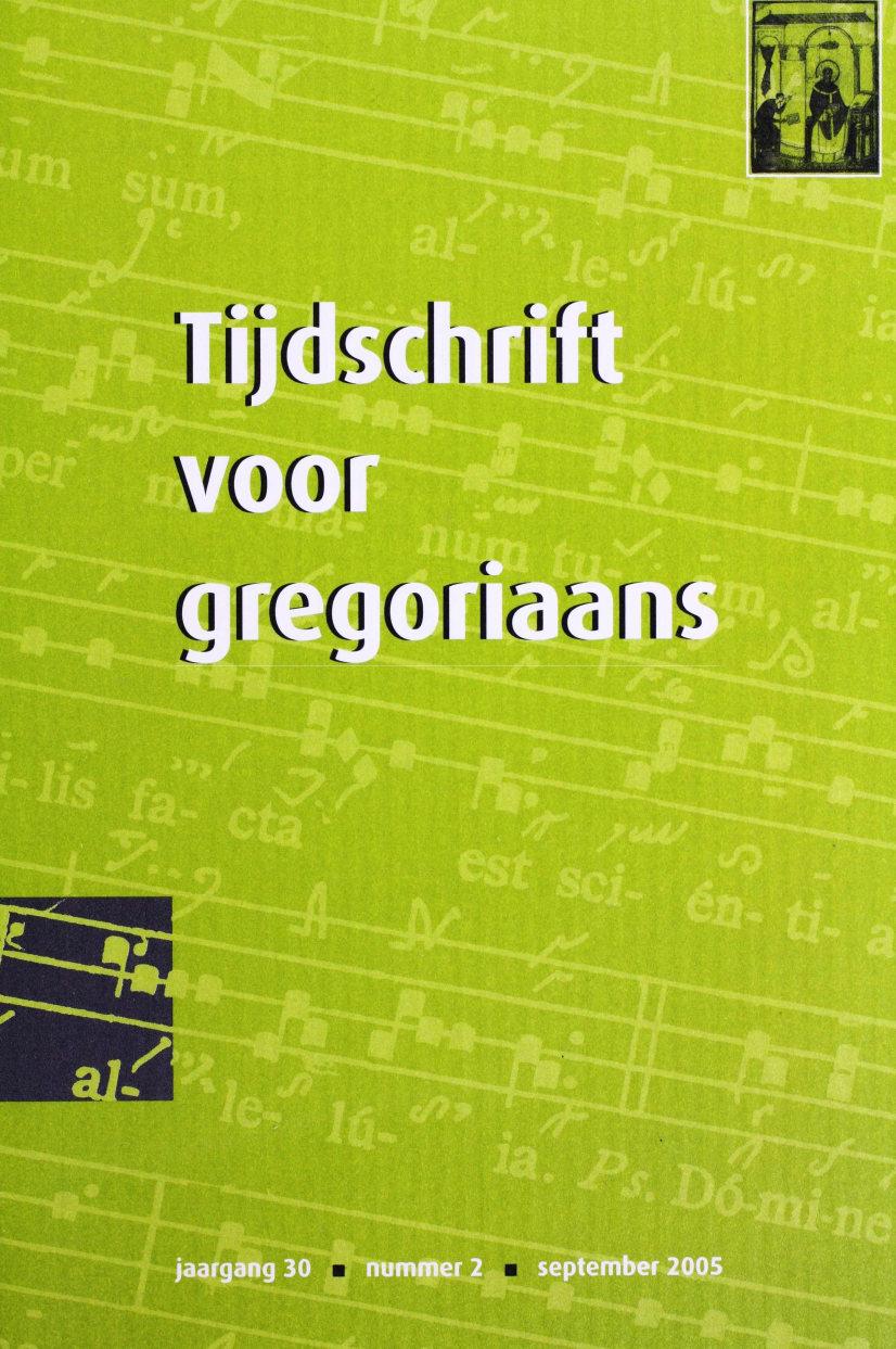 Tijdschrift voor gregoriaans, jaargang 30, nr 2, jun. 2005