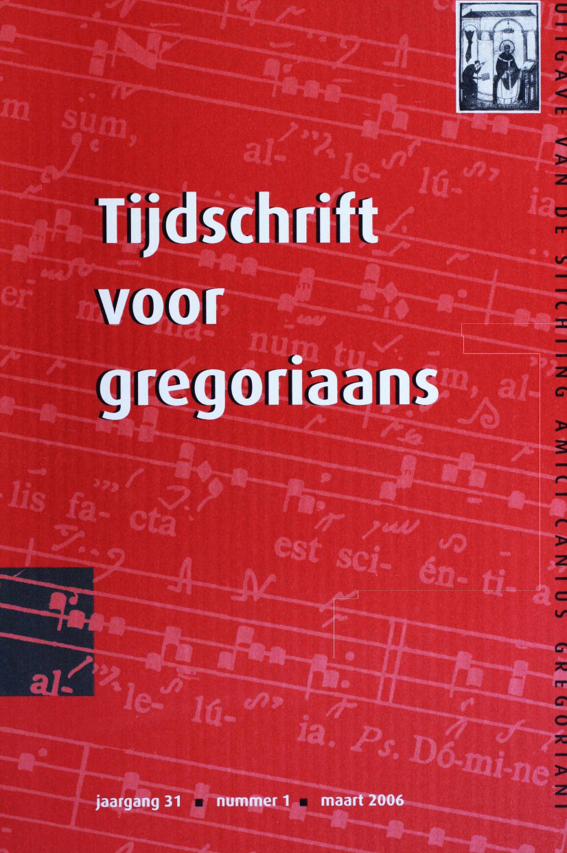 Tijdschrift voor gregoriaans, jaargang 31, nr 1, mrt. 2006