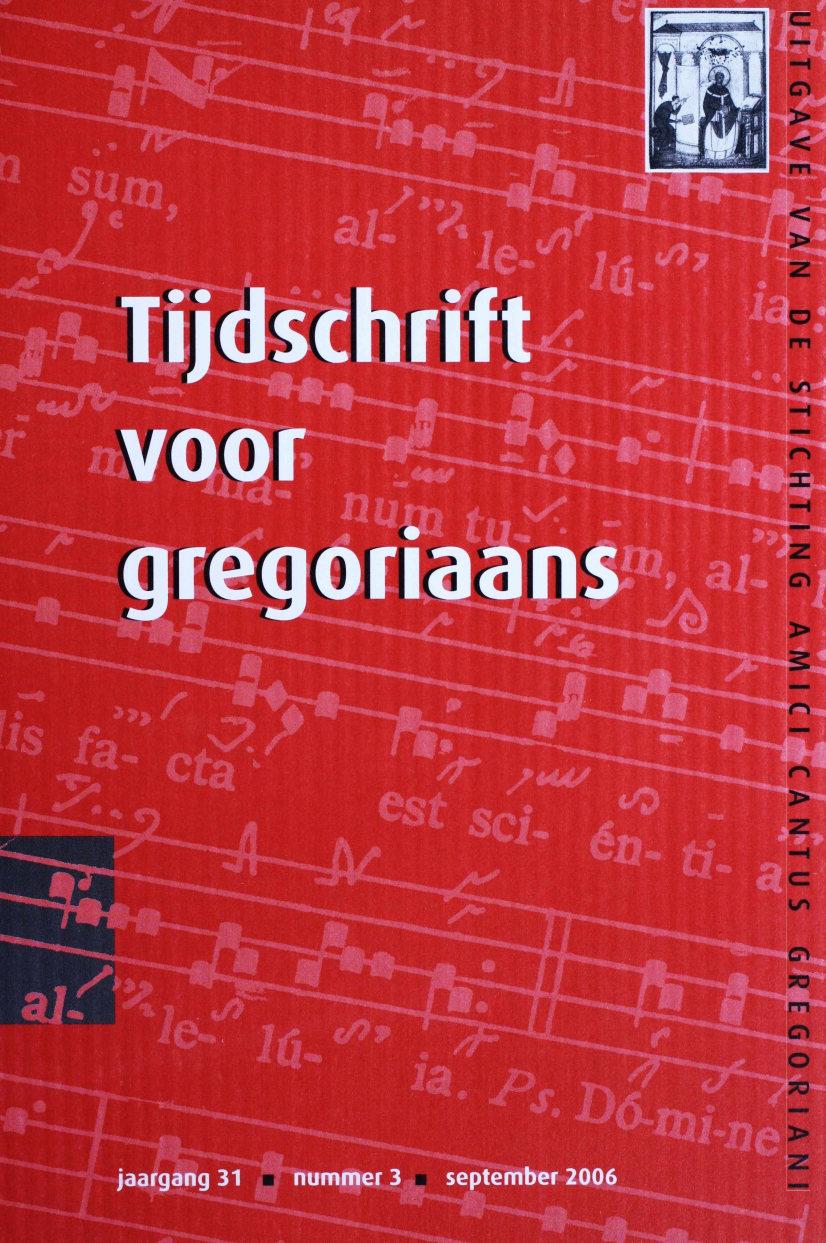 Tijdschrift voor gregoriaans, jaargang 31, nr 3, sept. 2006