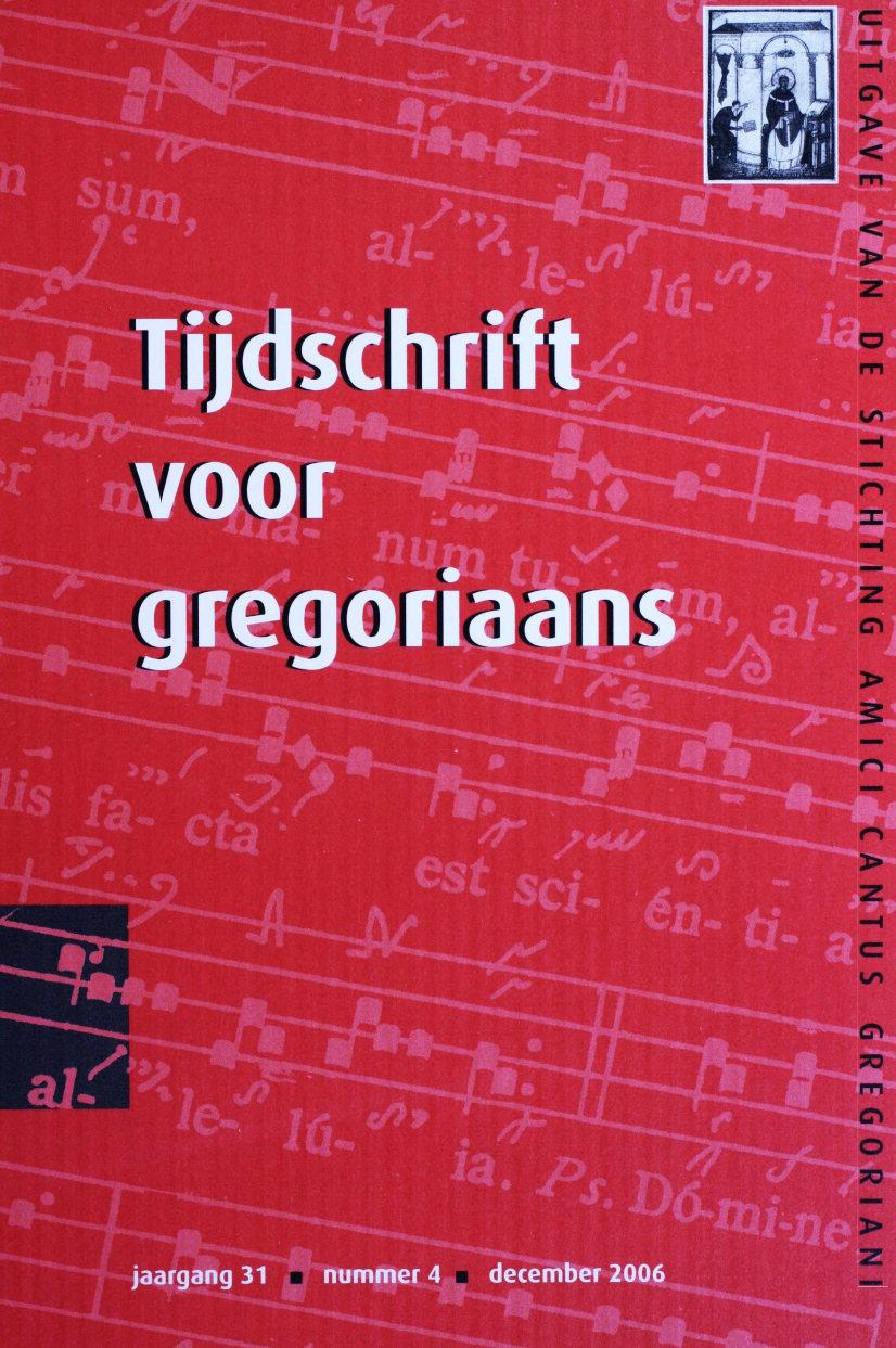 Tijdschrift voor gregoriaans, jaargang 31, nr 4, dec. 2006