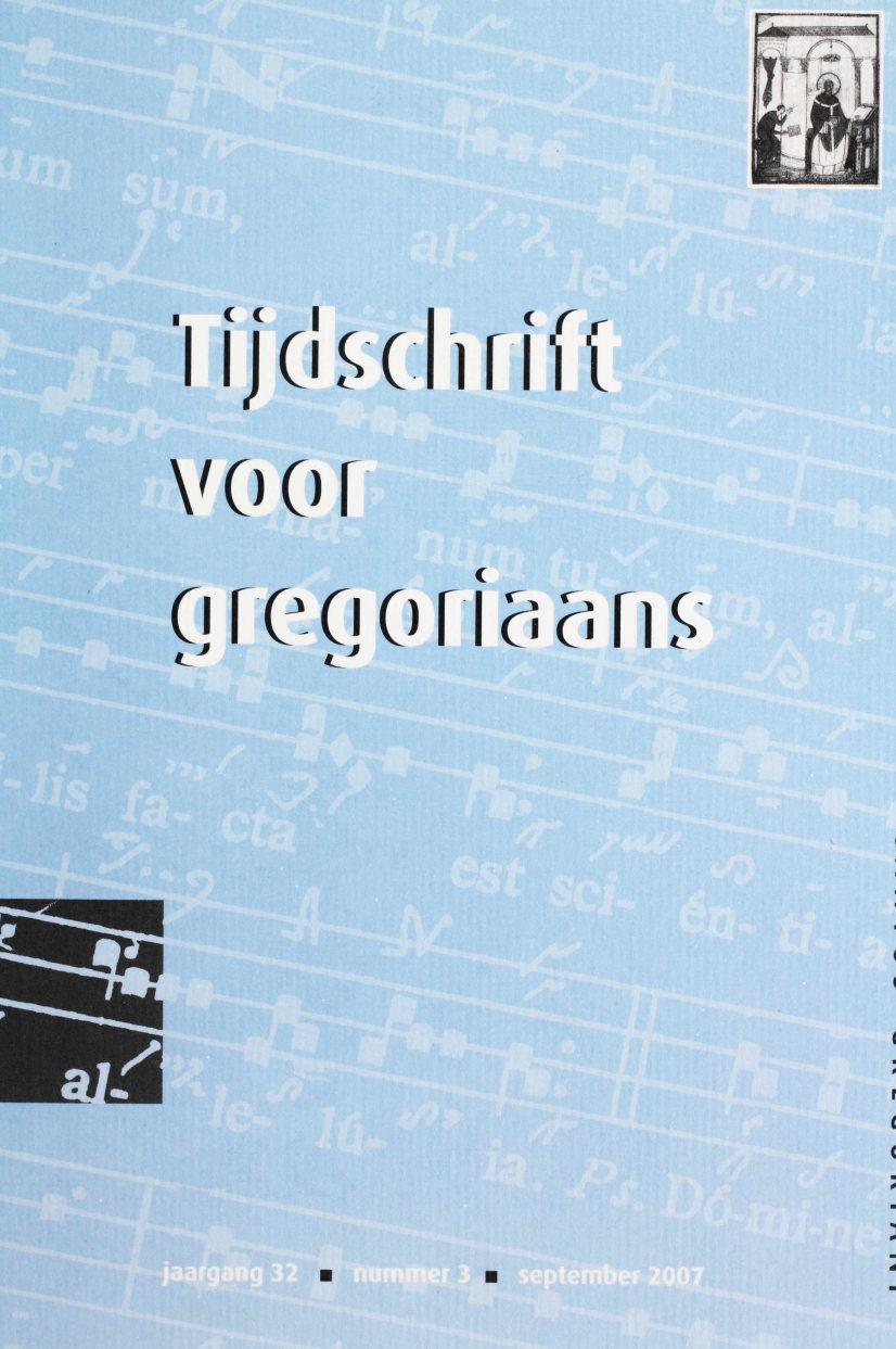 Tijdschrift voor gregoriaans, jaargang 32, nr 3, sept. 2007