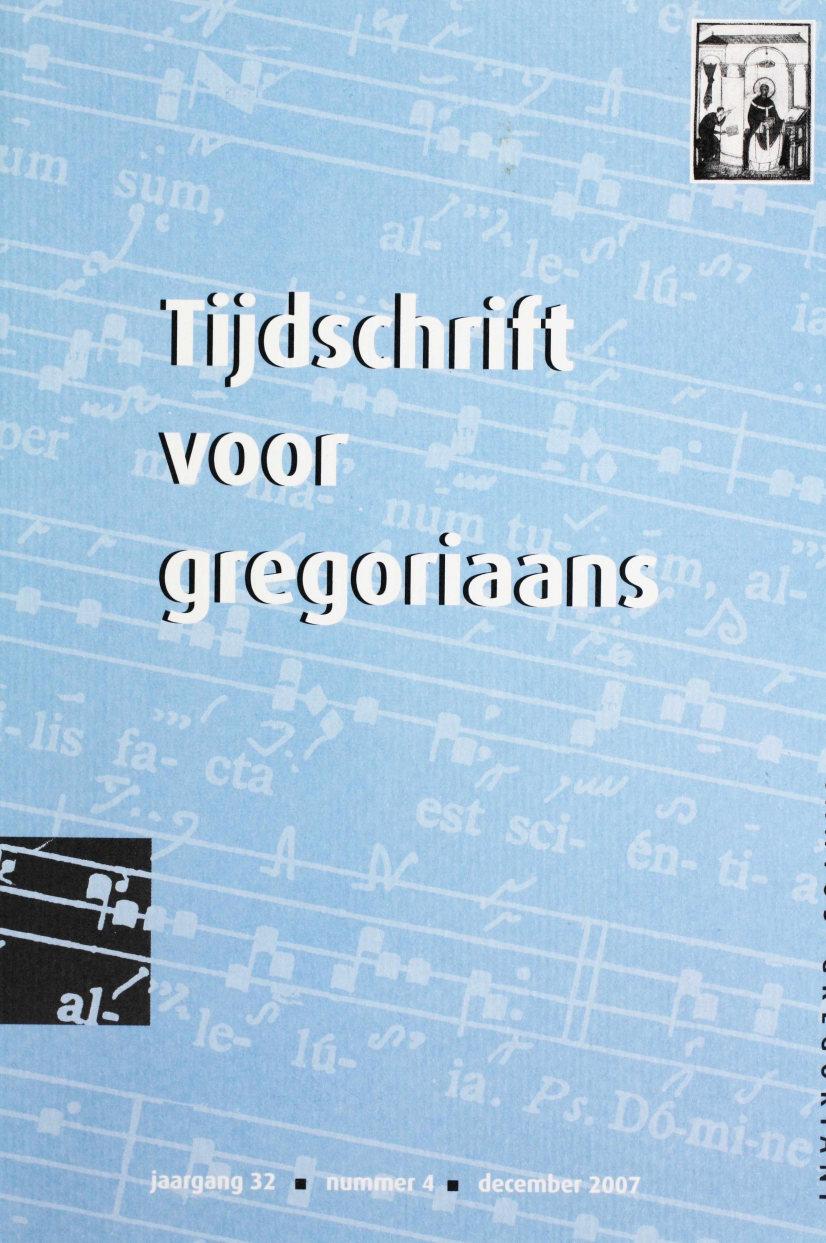 Tijdschrift voor gregoriaans, jaargang 32, nr 4, dec. 2007