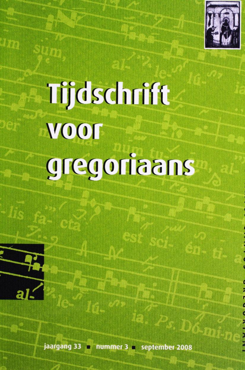 Tijdschrift voor gregoriaans, jaargang 33, nr 3, sept. 2008