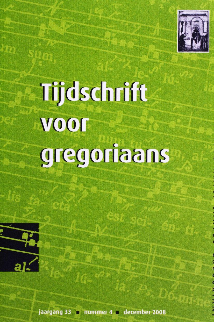 Tijdschrift voor gregoriaans, jaargang 33, nr 4, dec. 2008