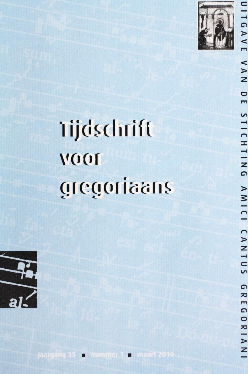 Tijdschrift voor gregoriaans, jaargang 35, nr 1, mrt. 2010