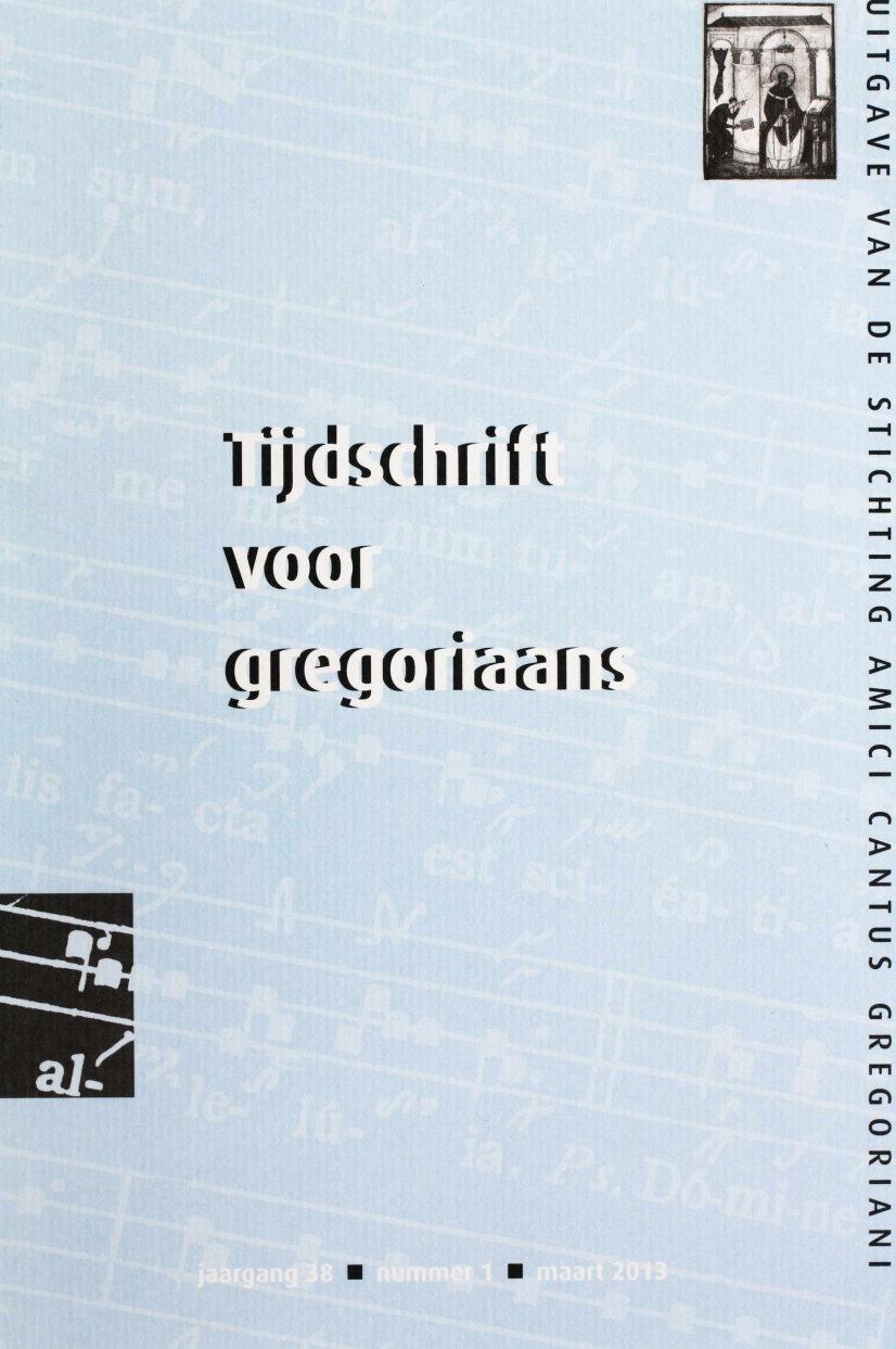 Tijdschrift voor Gregoriaans, jaargang 38, nr 1,  mrt. 2013
