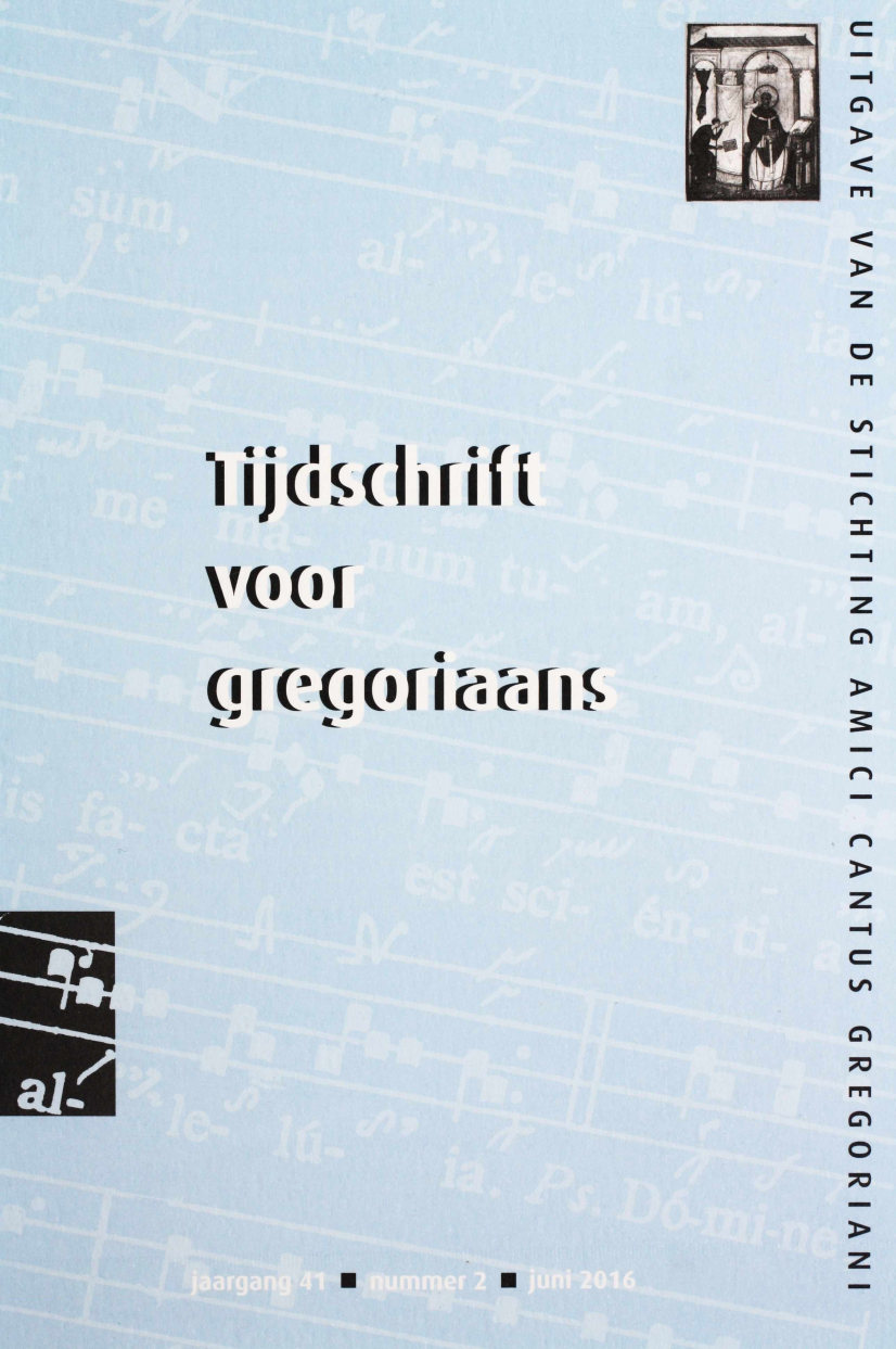 Tijdschrift voor gregoriaans, jaargang 41, nr 2, jun. 2016